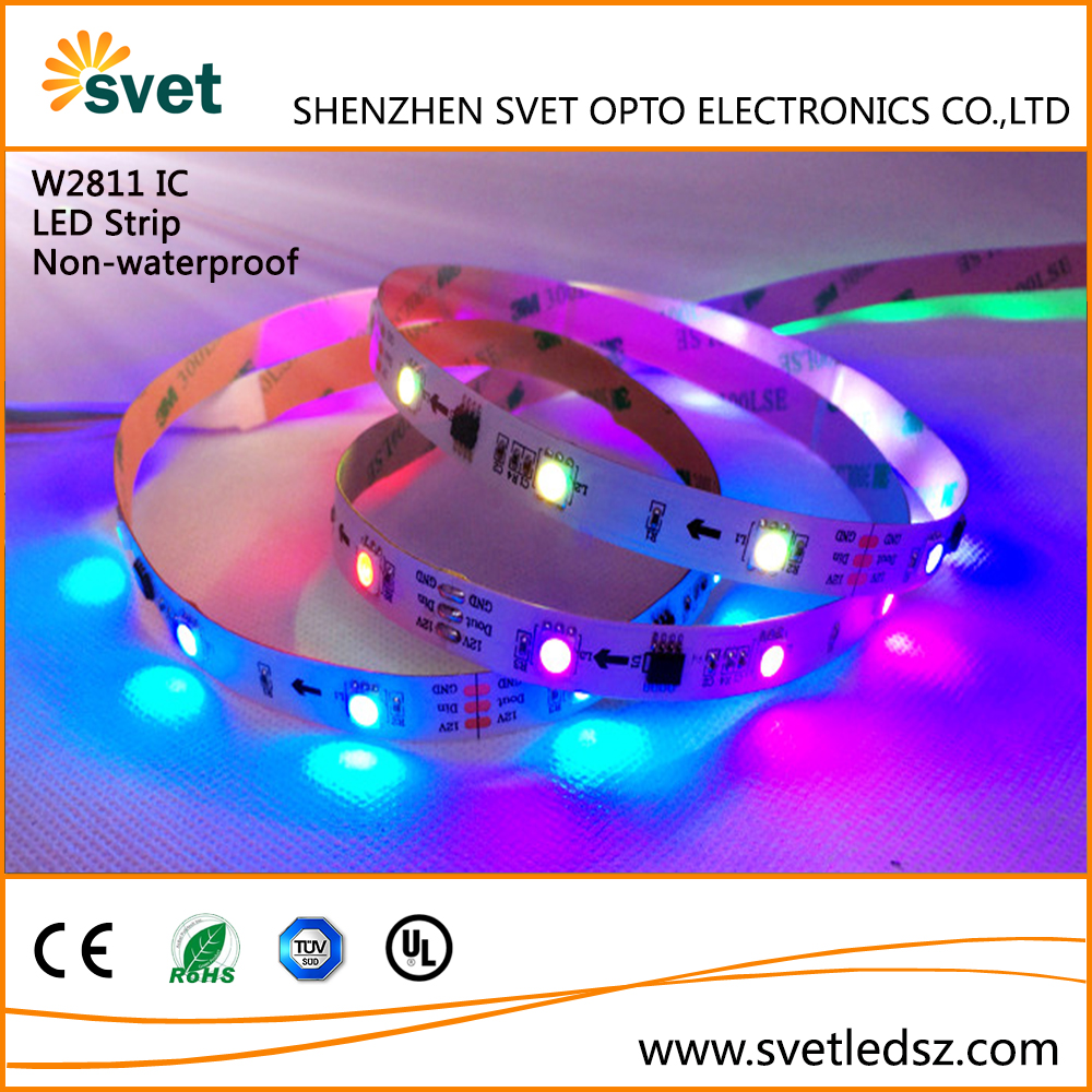 WS2811 LED Strip 5050 SMD RGB LED 30LEDs/m 5M DC 12V Dream Magic Color Addressable Digital Diaode Tape IP20