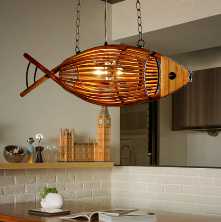 Art and craft fish shape E27 bamboo antique Pendant Lamp