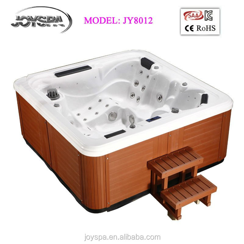 Square deluxe acrylic bathtub jets whirlpool hot tub spa with tv small hot tub