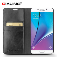 The genuine leather wallet book case for samsung galaxy note 5