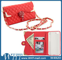 Folio Leather Case for iPhone 5C Wallet Case with Diamond Long Chain Handbag for Women New Mobile Phone Case