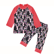 New spring and autumn long-sleeved deer head pants pants Christmas two-piece 1 year old baby clothes