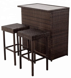 Outdoor furniture garden rattan dining patio wicker chair with square table sets