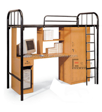 Classic dormitory furniture adult wood metal student bunk bed with desk