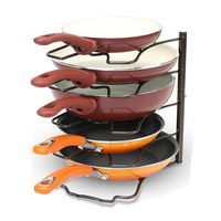 Kitchen Countertop Pan Rack Metal Stand With Skid Resistance