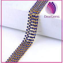 Brass chain and colorful SS16 4mm Rhinestone Cup Chain Crystal CZ