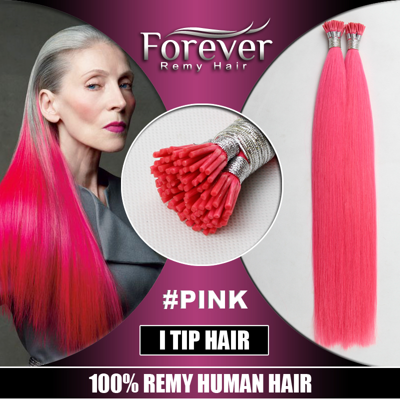 100% brazilian human hair wholesale Straight darling i tip hot pink hair extensions