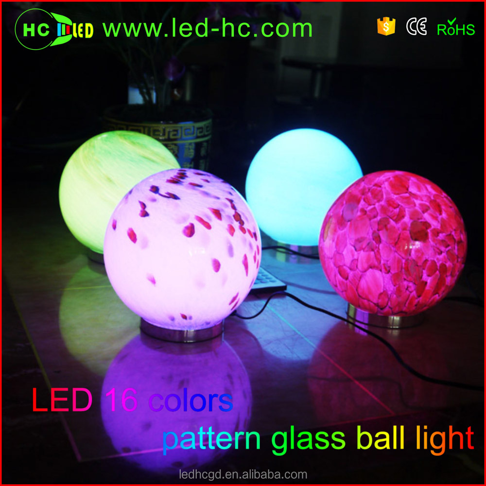 2016 new style glass arts crafts for home decoration 16 color changes led table lamp remote control glass decoration
