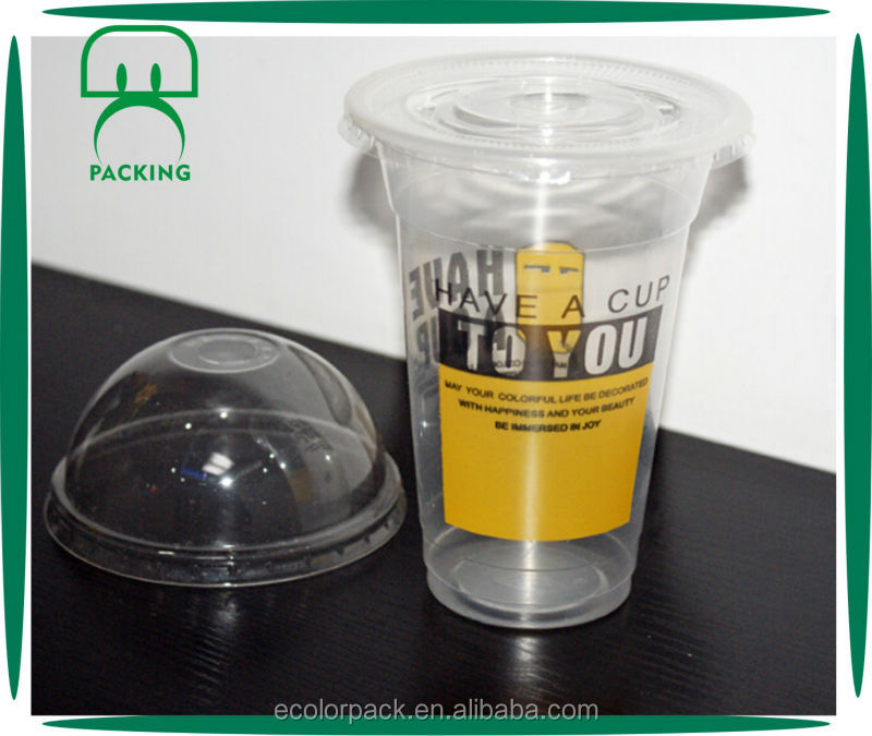 Custom logo PET wholesale plastic cups with lids