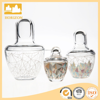wholesale Russian doll glass candy jar with cylinder lid