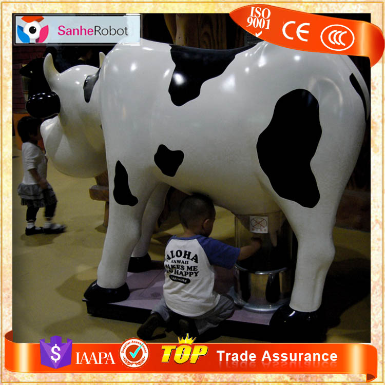 Sanhe Varies Type Milking-Cow Fiberglass Lifesize Dairy Cows for Sale Shopping Mall