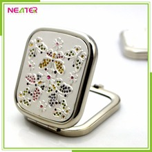 Square Flexible Hand Held Mirror Pocket Compact Mirror Wholesale With Diamante