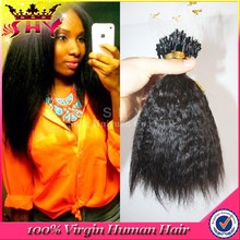 Grade AAAAA wholesale brazilian human hair micro rings loop kinky hair extensions