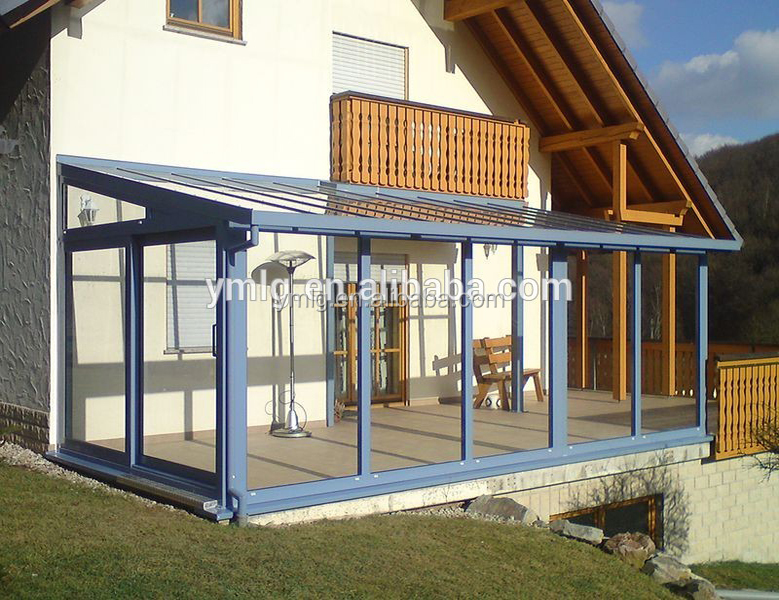Customized Design Anti-Uv Aluminum Frame Sunroom With Slant Roof