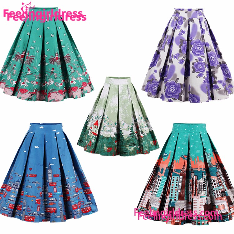 Fashionable Colorful Printed Plus Size High Waist Umbrella Skirt