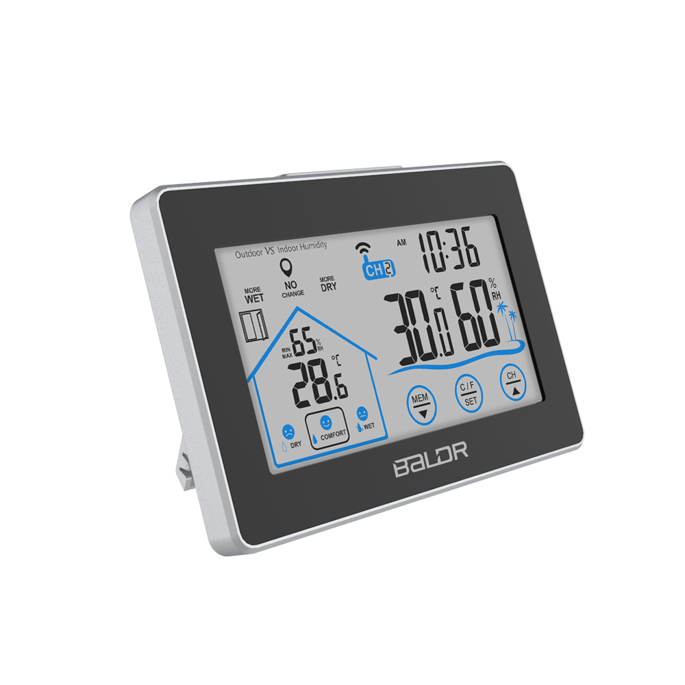 BALDR Digital Indoor Outdoor Thermometer & Hygrometer - Touch Screen Wireless Weather Station with Indoor Outdoor Temperature &