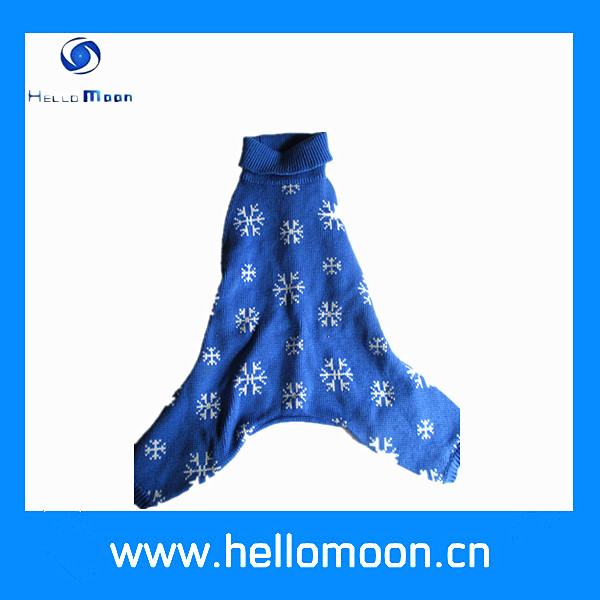 fashionable warm winter Christmas blue snow dog wool clothes