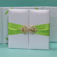 white silx folio with green silk ribbon invitation card wedding invitations card