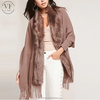 best selling products 2017 in usa sexy women faux fur trim poncho with dropped short sleeves
