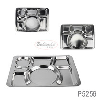 Stainless Steel 7 Compartments Tray Rectangle Dinner Divided Plate For Restaurant