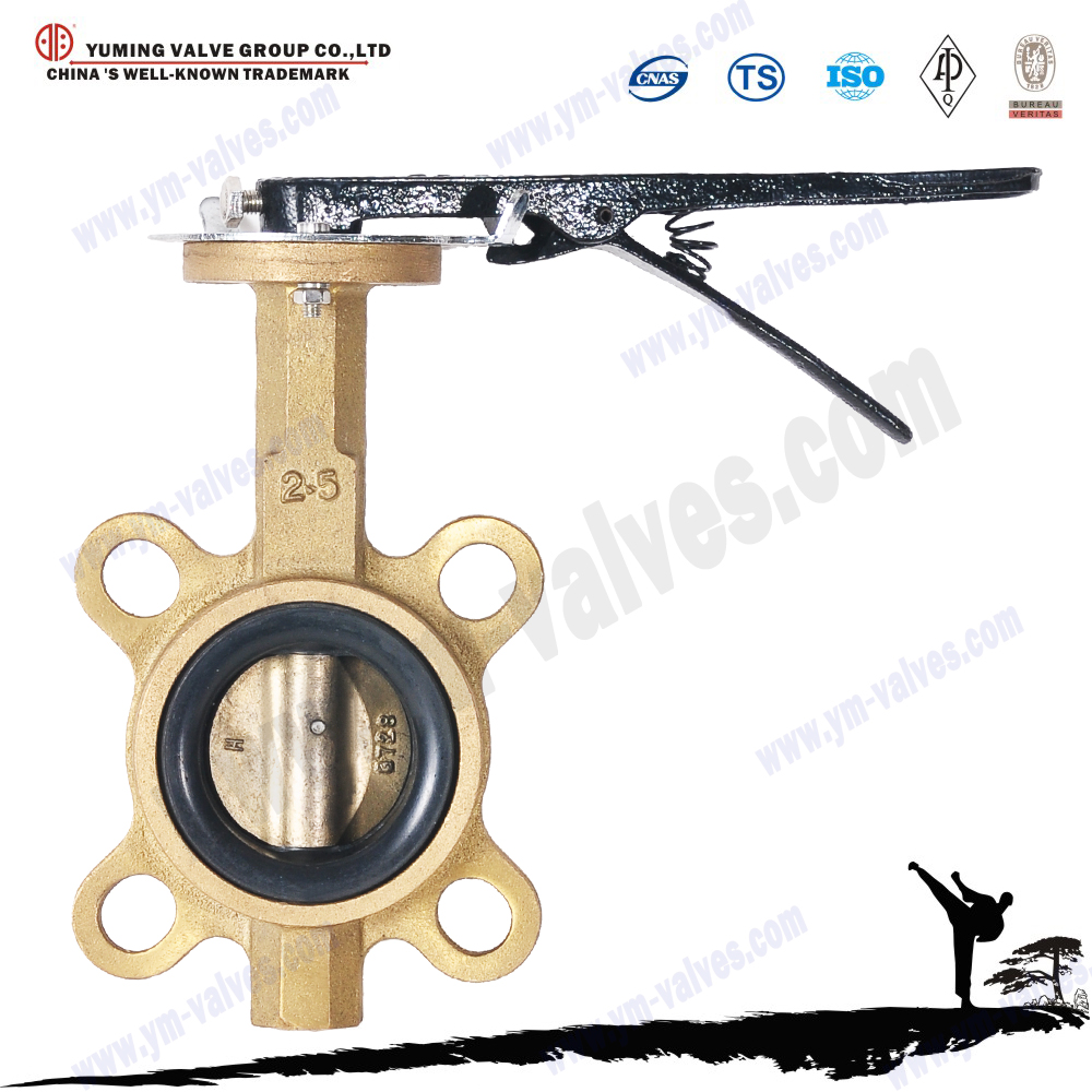 Lever operated wafers end type manual epdm lined cw617n brass butterfly valves