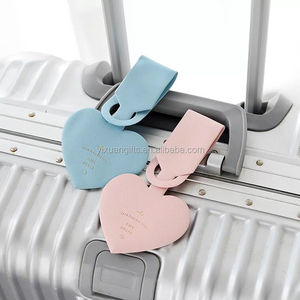 Pink Heart Leather Luggage ID Name Tags Baby Bridal Shower Wedding Girl Birthday Party Favor