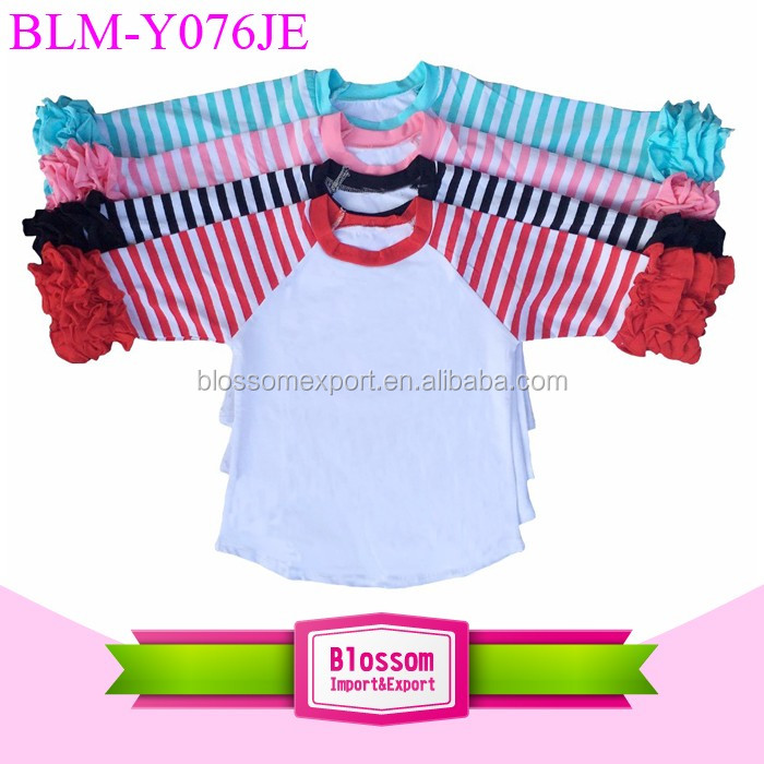 Newest Arrows 3/4 Sleeve Baby Girl Ruffle Raglan Shirt Monogrammed Baby Raglans