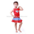2016 cute baby girl red rank top with baseball glitter pattern and girl skirt kids clothes