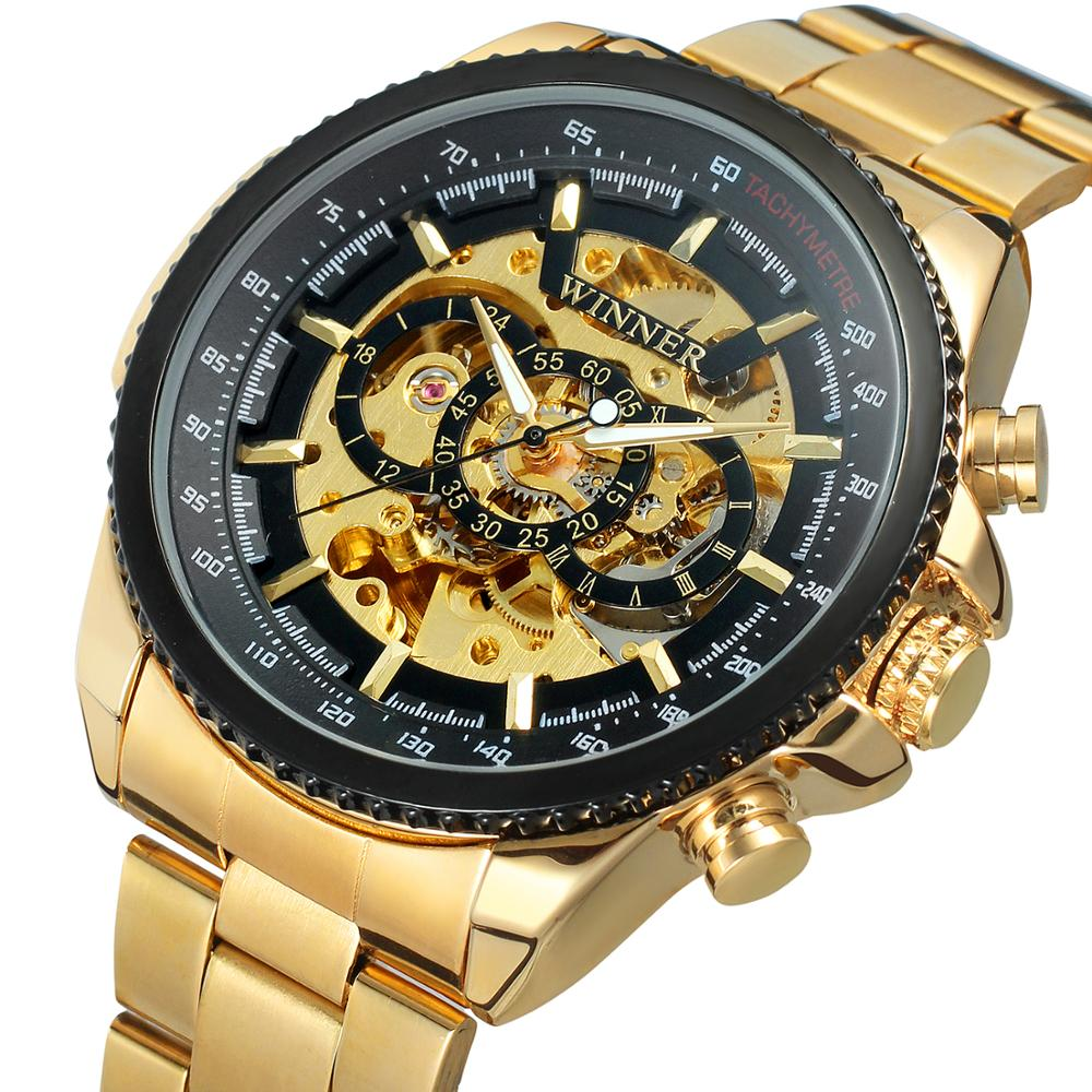China Factory  Watch Skeleton Mechanical Brand Your Own Mens Luxury Gold Custom Logo Saat T- winner Automatic Gold Watch for Man
