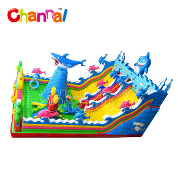 Shark inflatable playground inflatable amusement park inflatable fun city for kids
