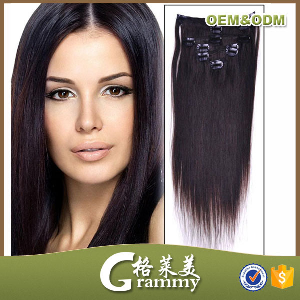 most popular telephone hair product in asia 150g remy clip in hair extension