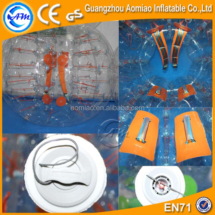 Inflatable orange accessories bubble ball suit for sale, 0.8mm PVC bumper ball
