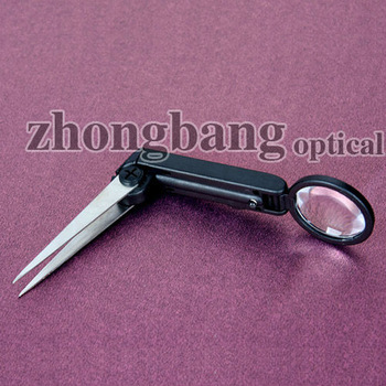 small folding tweezer magnifier with led light