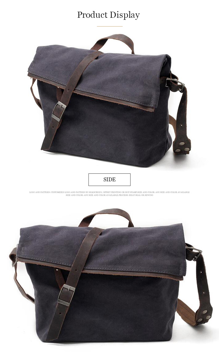 High density straps portable laptop cotton canvas blank shoulder messenger bag