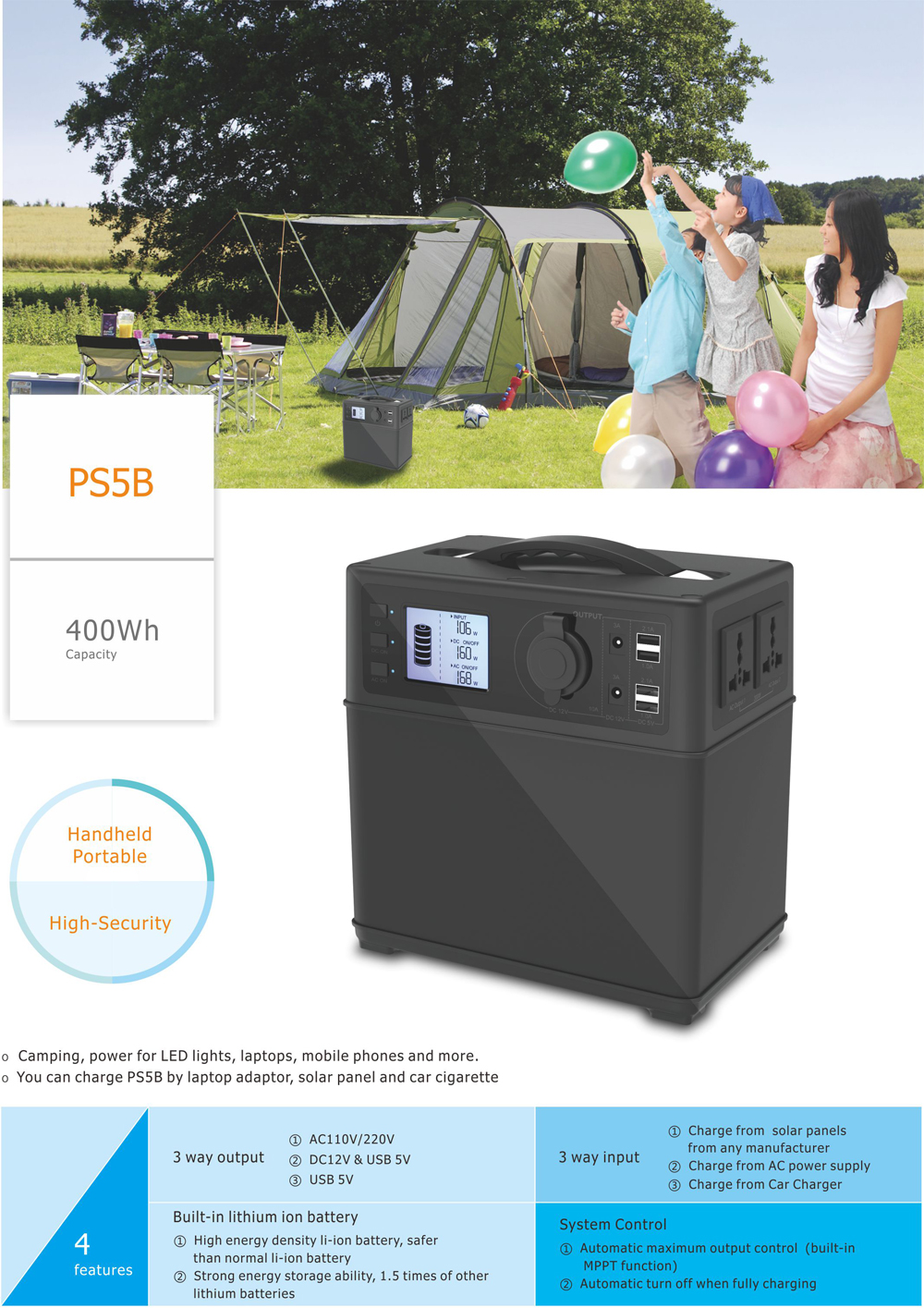 300W portable electric camping power supply solar generator 400wh
