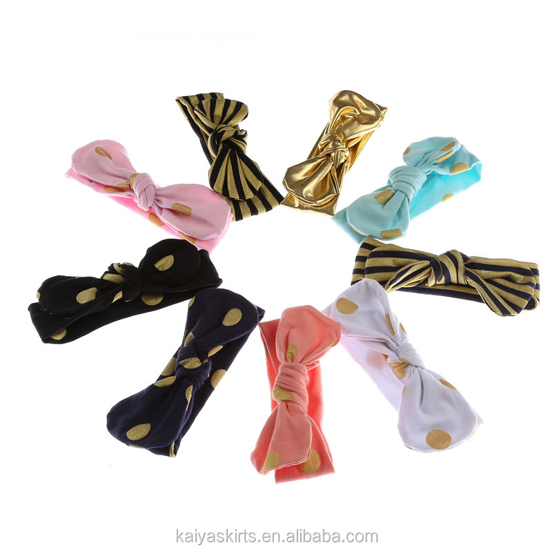 Baby Girl Top Knot Cotton Knit Headband Kids Knotted Bow Tie Gold Foil Dots Headbands Jersey Headband
