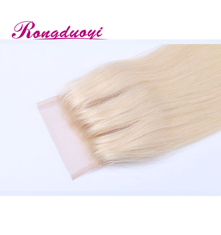 Most popular 3 part silk base lace closure blonde hair bundles with lace closure