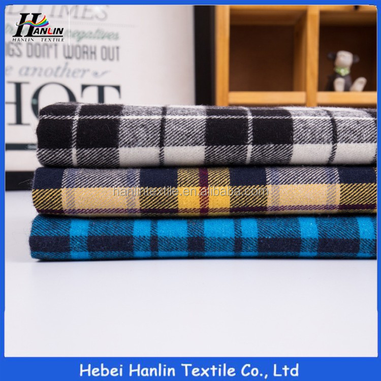 Wholesale stock yarn dyed 100 combed cotton flannel pajamas fabric