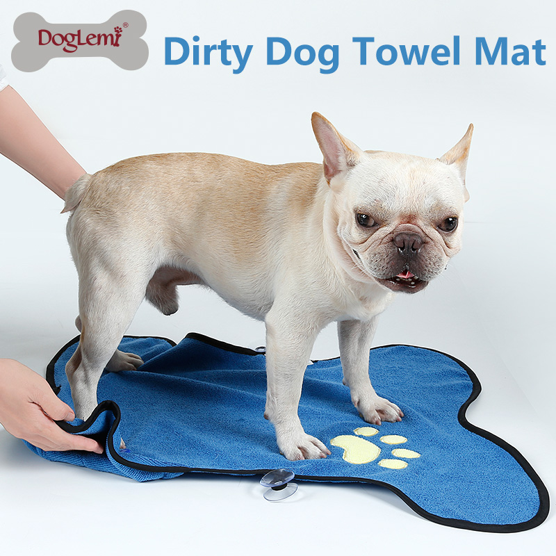 Dog Drying Towel Microfiber Absorbent Pet Dirty Paws Cleanning Bath Towel Mat