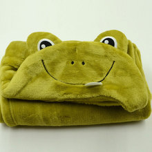 Coral fleece infant animal frog head plush baby blanket