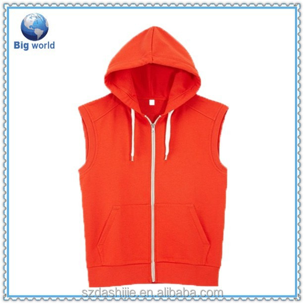 Nice custom high quality design your own 100% cotton hoodie & sleeveless hoodie t shirt with zipper
