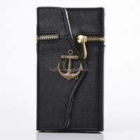 Corsair Anchor Zipper Pattern Wallet Stannd Flip Leather Case ID Card Slots for Samsung Galaxy Note2 N7100