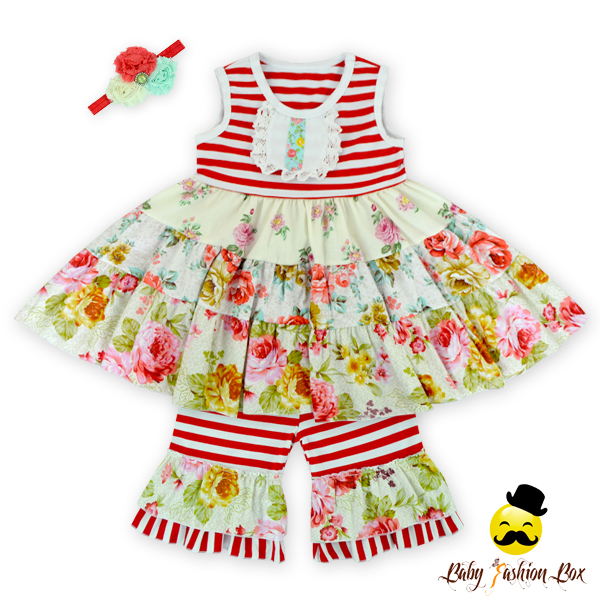 66TQZ247 Yihong Toddler Floral Dress Easter Outfit Wholesale Blank Baby Clothes American Summer Clothing Company