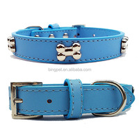 Free shipping ! wholesale real leather extra large dog collar with bone charm