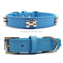 wholesale real leather extra large dog collar with bone charm