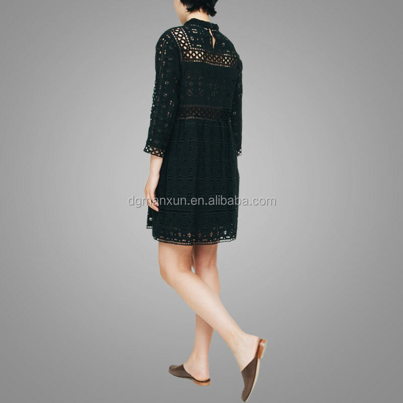 New style beautiful short sleeves hot ladies sexy transparent black dress