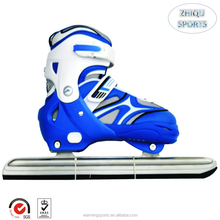 Wholesale top quality upscale teenagers and kids Adjustable size half soft upper OEM ice speed skating shoes