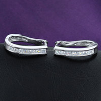 Tin alloy jewelry silver plated earring with crystal