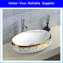 Chinese Golden Edge Flower Pattern Counter Top Ceramic Bowl Golden Painting Bathroom Wash Basin Foshan No.013