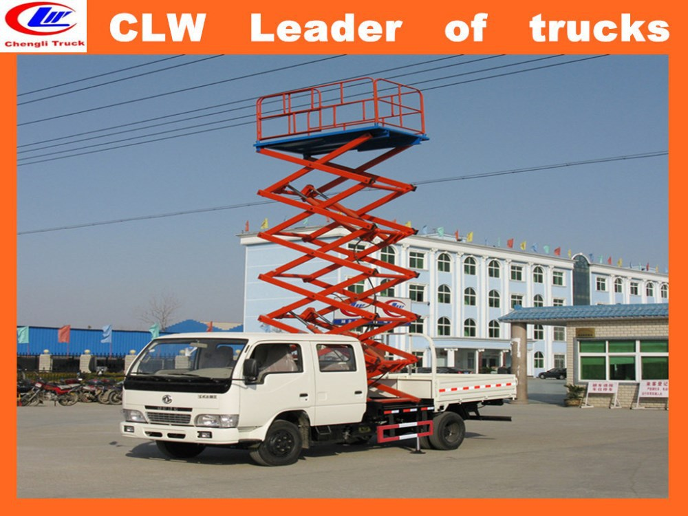 brand new scissor lift platform truck 4*2 scissor lift trucks sale cheap lifted trucks